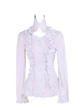 White Cotton Stand-up Collar Ruffle Retro Victorian Lolita Shirt Blouse - $38.98