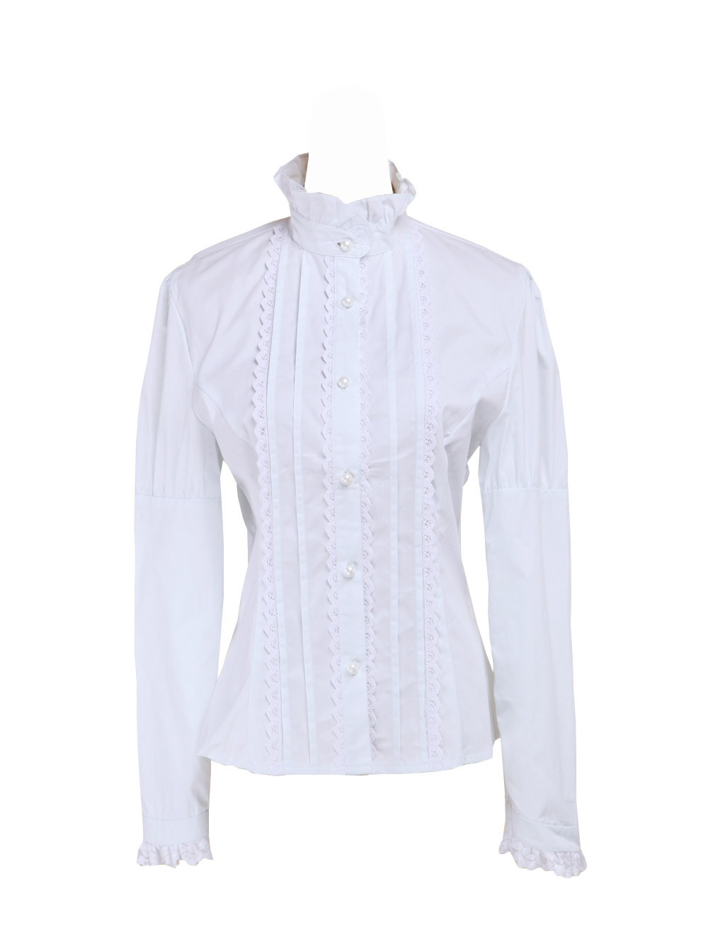 Primary image for White Cotton Stand-up Collar Lace Pintucks Victorian Lolita Shirt Blouse