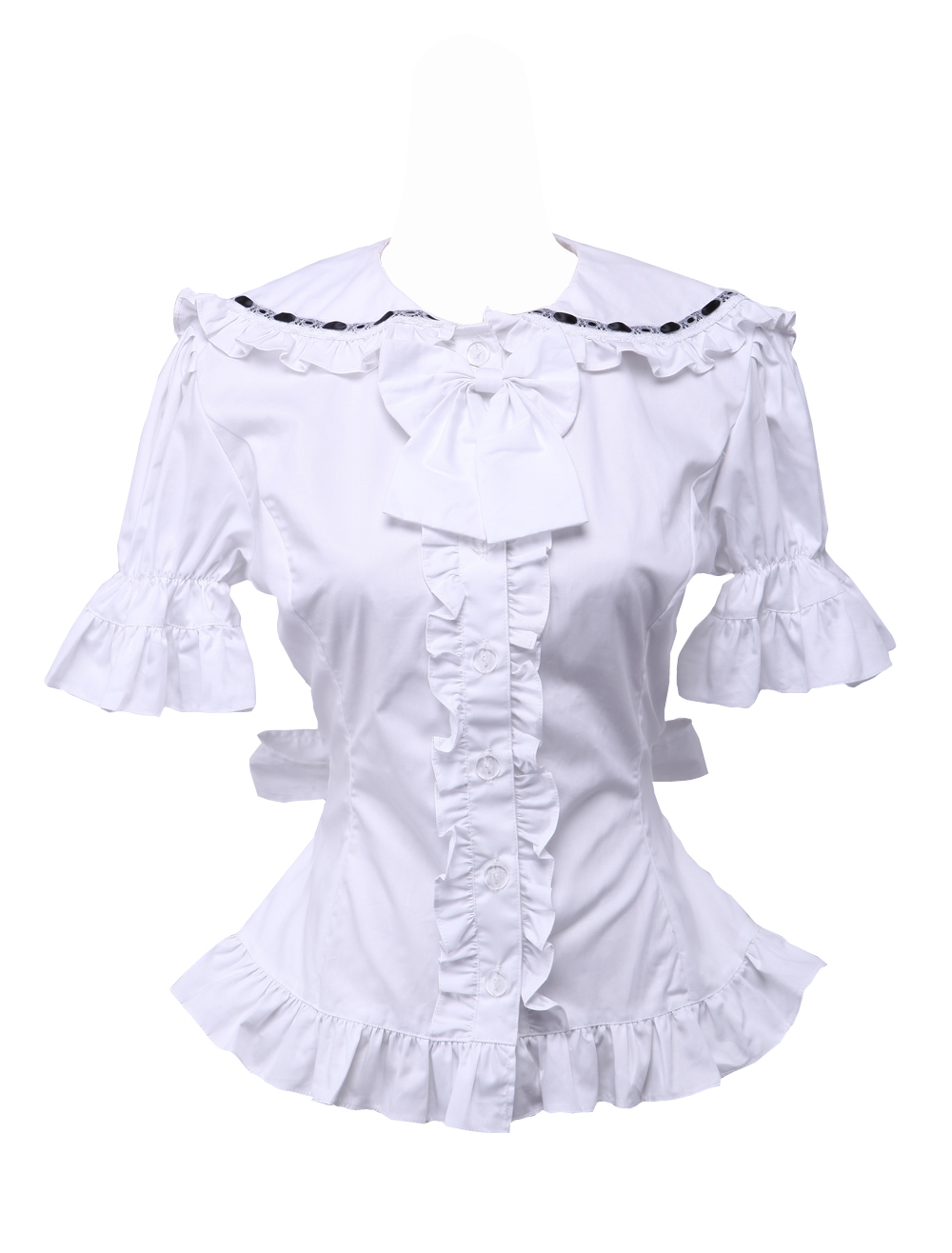 Primary image for White Cotton Bow Ruffle Retro Victorian Sailor Short Sleeve Lolita Blouse