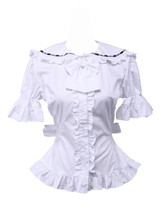 White Cotton Bow Ruffle Retro Victorian Sailor Short Sleeve Lolita Blouse - $38.98