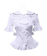 White Cotton Bow Ruffle Retro Victorian Sailor Short Sleeve Lolita Blouse - $38.98