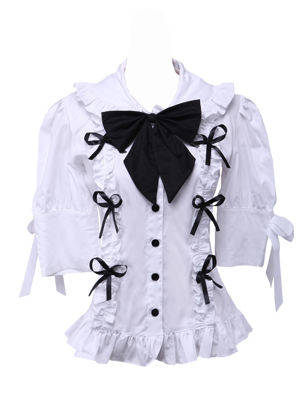 Primary image for White Cotton Lapel Balck Bow Lace Ruffle Retro Victorian Lolita Shirt Blouse