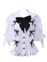 White Cotton Lapel Balck Bow Lace Ruffle Retro Victorian Lolita Shirt Blouse - $38.98