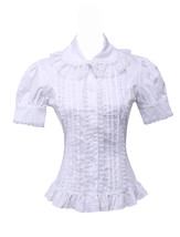 White Cotton Lapel Pintucks Ruffle Victorian Short Puff Lolita Shirt Blouse - $38.98