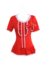 Red Cotton Low Collar Lace Ruffle Bow Victorian Short Sleeve Lolita Shirt Blouse - $38.98