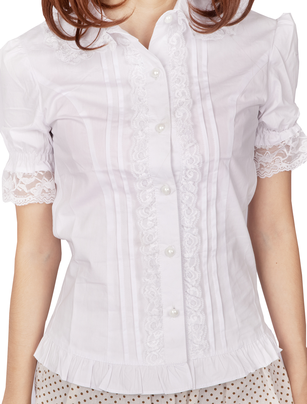 Primary image for White Cotton Ruffle Lace Victorian Short Sleeve Lolita Shirt Blouse