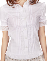 White Cotton Ruffle Lace Victorian Short Sleeve Lolita Shirt Blouse - $38.98