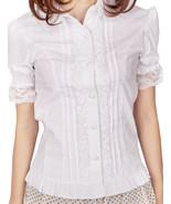 White Cotton Ruffle Lace Victorian Short Sleeve Lolita Shirt Blouse - $38.98