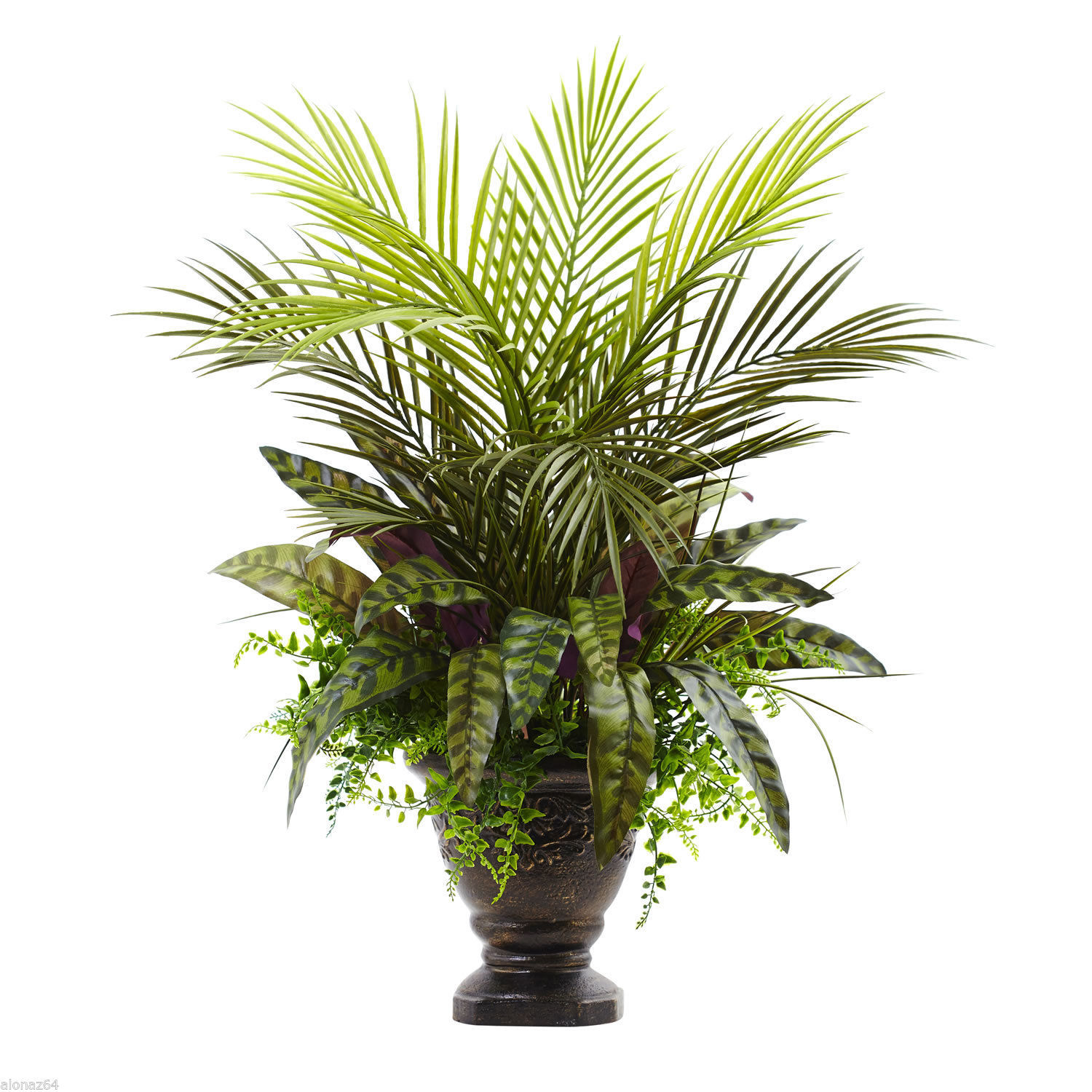 "27"" Mixed Areca Palm, Fern & Peacock w/Planter 6828"