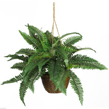 1 X Boston Fern Silk Hanging Basket- Nearly Natural - $39.60