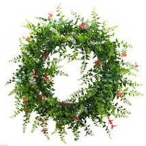 "Floral & Fern Double Ring Wreath 18"" w/Twig Base Home Decor 4542 - €35,75 EUR"