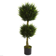 4' Double Ball Cypress Topiary UV Resistant (Indoor/Outdoor) Nearly Natural - $117.99