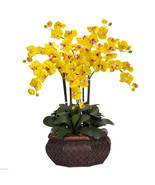 "Large Phalaenopsis Silk Flower 30"" Arrangement nearly natural 1201 Yellow - $149.99"