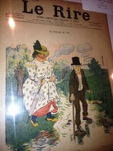 Original LE RIRE Cover Lithograph by Fernand Fau 1898 on linen - $11.25
