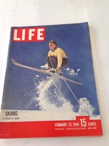Life Magazine February 23 1948 Skiing 15 Pages in Color Great Ads and Ar... - $27.58