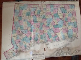 VINTAGE 1869 Connecticut MAP FROM  BAKER & TILDEN - $23.20