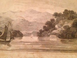 Vintage 1800's Antique Print Steel Engraving Highlands Hudson River - $18.66