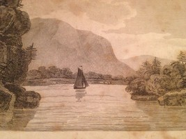 Vintage 1800's Antique Print Steel Engraving Lake Champlaim - $18.66