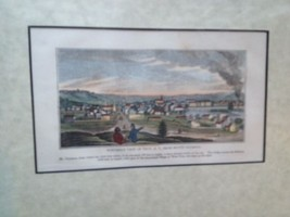 Troy, New York Original wood engraving hand colored 1839 John Warner Barber - $37.01