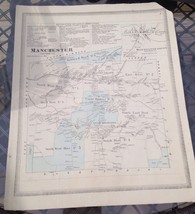 VINTAGE Late 1800s Manchester, Connecticut MAP FROM  BAKER & TILDEN - $23.20