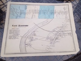 VINTAGE Late 1800s East Hartford, Connecticut MAP FROM  BAKER & TILDEN - $23.20