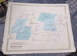 VINTAGE Late 1800s Hartland, Connecticut MAP FROM  BAKER & TILDEN - $23.20