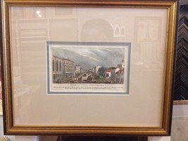 Buffalo Street in Rochester New York w/ horses carriages 1841 Antique co... - $70.13