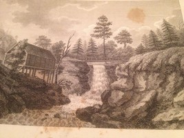 Vintage 1800's Antique Print STEEL ENGRAVING Buttermilk Falls - $18.66