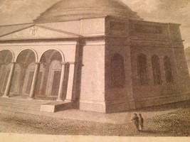 Vintage 1800's Antique Print Steel Engraving Independent Church of Balti... - $18.66