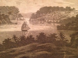 Vintage 1800's Antique Print Engraving Queenstonn Canada - $18.66