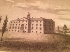 Vintage 1800's Antique Print Engraving Dickenson College - $18.66