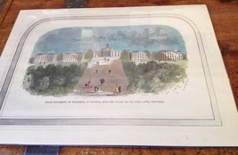 University of Wisconsin Print - Original Woodcut Hand Colored - $93.50