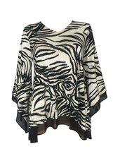 Alfani Angel Sleeve Animal Print Top, Black/Brown, S - $19.75
