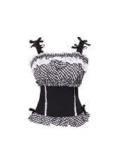 Black Cotton White Lace Ruffle Straps Plaid Victorian Sleeveless Lolita Blouse - $38.98