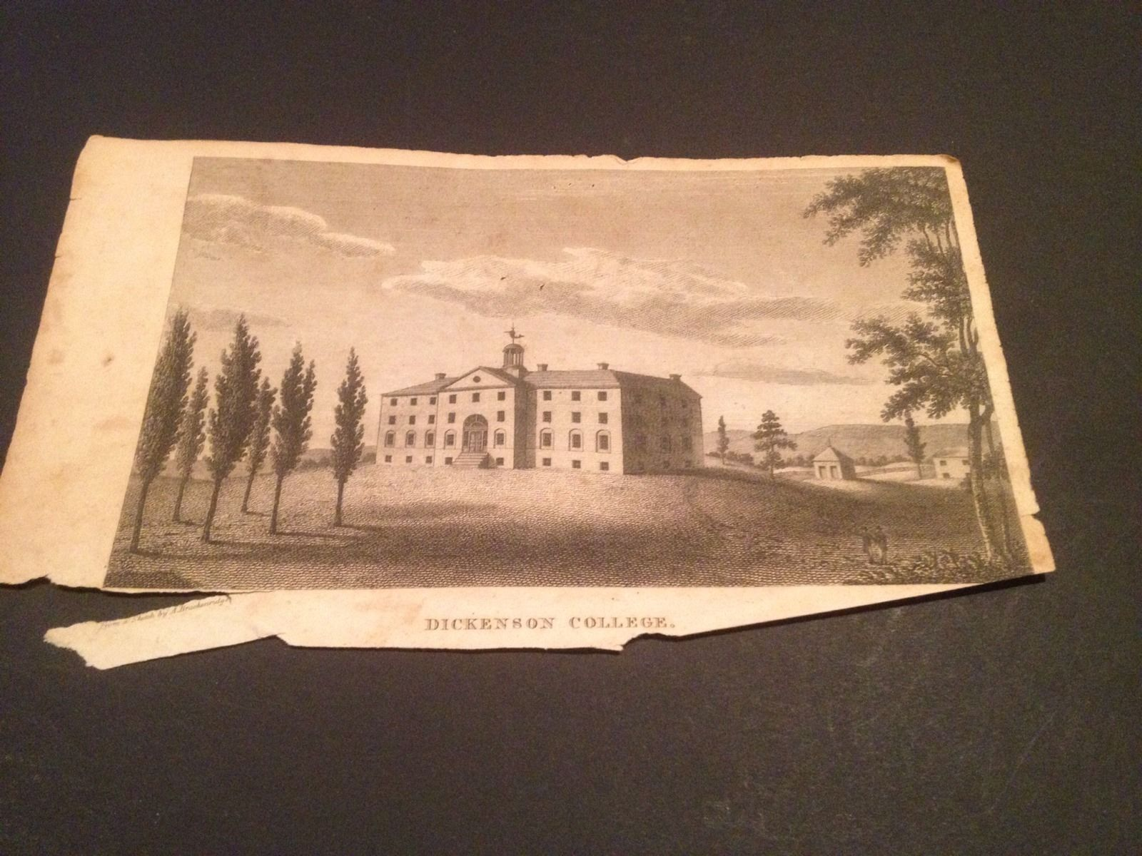 Vintage 1800's Antique Print Engraving Dickenson College