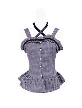 Black White Cotton Plaid Straps Backless Ruffle Gothic Lolita Shirt Blouse - $38.98