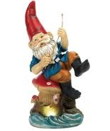 Solar Statue happy  gnome sitting on shoreline ... - $17.55