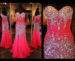 Sweetheart Neck Mermaid Crystals Prom Dresses Floor Length Party Dresses - $189.80