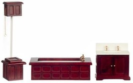 Dollhouse Miniature Victorian Bath Set, 3 Pc, Mahogany Finish #D6407 - $40.84
