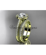 14kt yellow gold diamond engagement ring, engagement set  Moissanite VD1... - $2,785.00
