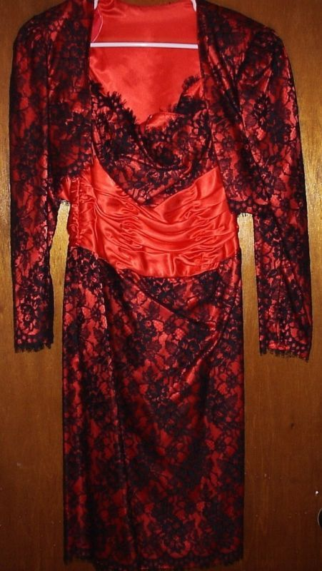 ALYCE DESIGNS  RED/BLACK LACE 2PC COCKTAIL DRESS 12 NEW