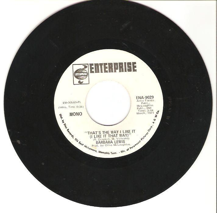 BARBARA LEWIS Thats the Way I Like It 45 MONO/STEREO Promo ENTERPRISE RECORDS