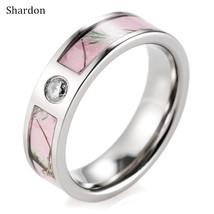 6mm Women Pink Tree Camo Titanium Engagement Wedding Ring - $26.98