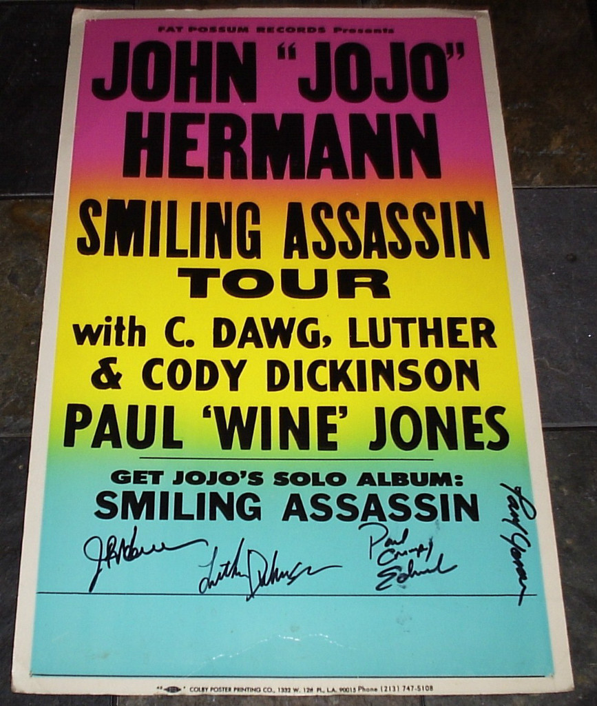 LUTHER DICKINSON SIGNED CONCERT POSTER  Smiling Assassin Tour 2003