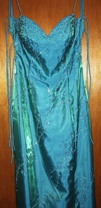 PARTYTIME SEQUINED NEW TEAL EVENING GOWN SIZE 6 NEW