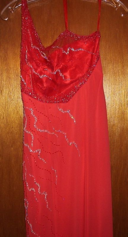 PARTYTIME SEQUINED TANGERINE EVENING GOWN SIZE 6 NEW