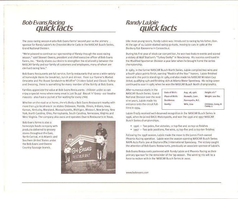 RANDY LAJOIE SIGNED GLOSSY 8 x 10 PHOTO NASCAR
