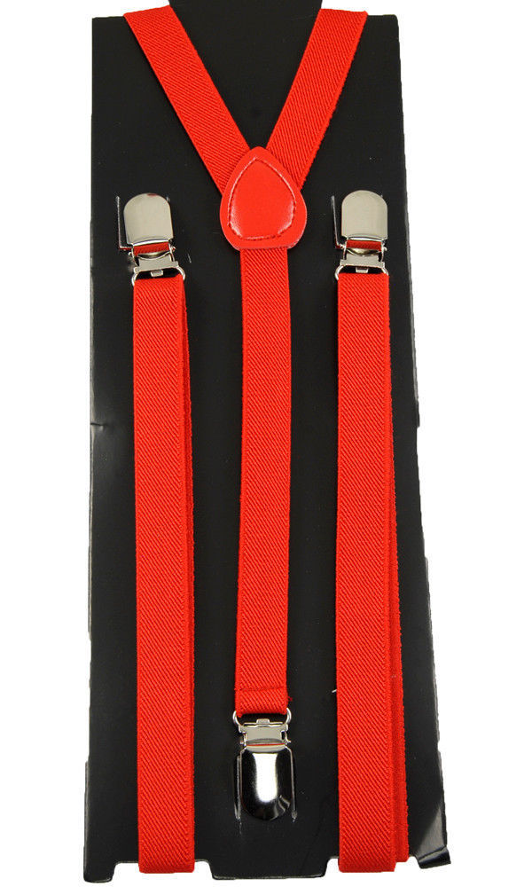 "Unisex Clip-on Braces Elastic ""Red"" Slim Y Back Suspender"