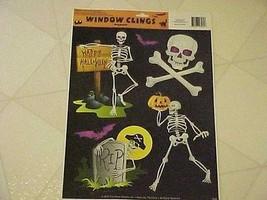 Static Window Clings Set 5 New Halloween Skeletons Skull Goth - $8.84