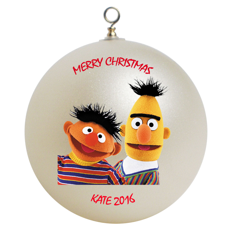 Personalized Sesame Street Bert and Ernie Christmas Ornament Gift